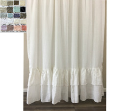 Linen Shower Curtain With 2 Rows Of Mermaid Long Ruffles