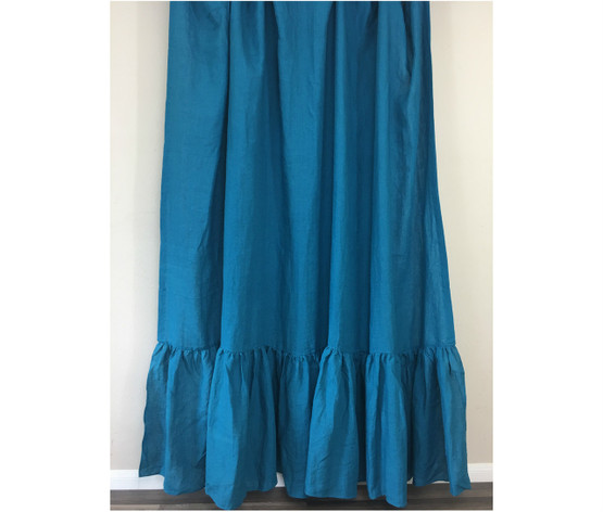 Teal Blue Natural Linen Shower Curtain With Mermaid Long Ruffles