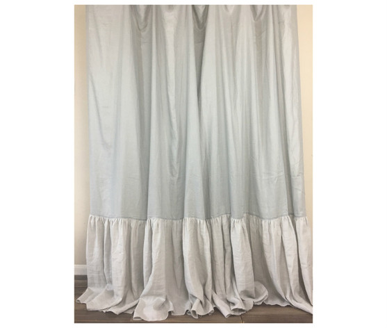 Linen Shower Curtain With Mermaid Long Ruffles Color Block