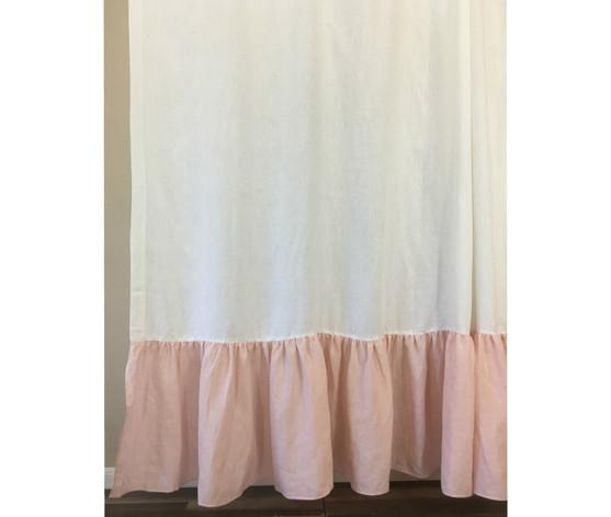 Linen Shower Curtain With Mermaid Long Ruffles Bi Chrome Design