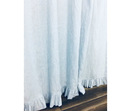 Blue And White Ticking Striped Shower Curtain With Self Ruffles