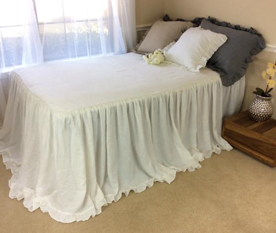 White Linen Bedspread With Cinderella Ruffle Hem