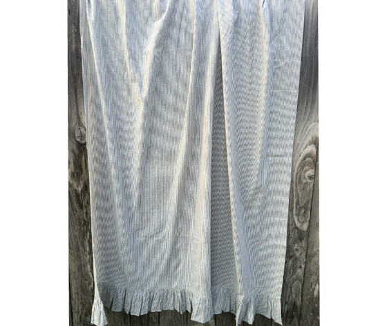 Subtle Black And White Ticking Stripe Ruffled Linen Shower Curtain