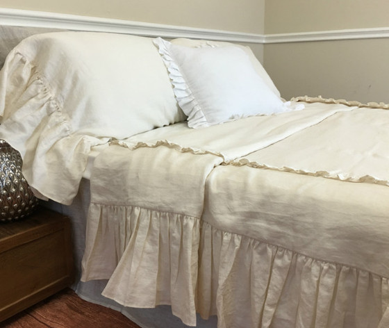 Cream Mermaid Long Ruffle Duvet Cover Handcrafted By