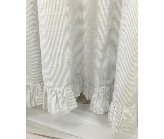 Ticking Striped Ruffled Shower Curtain