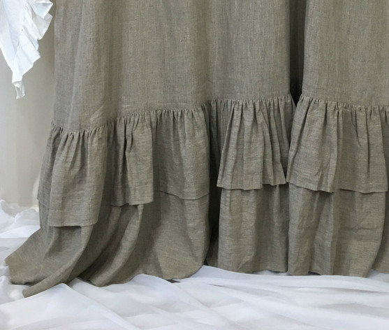 Extra Long Ruffle Shower Curtain Linen