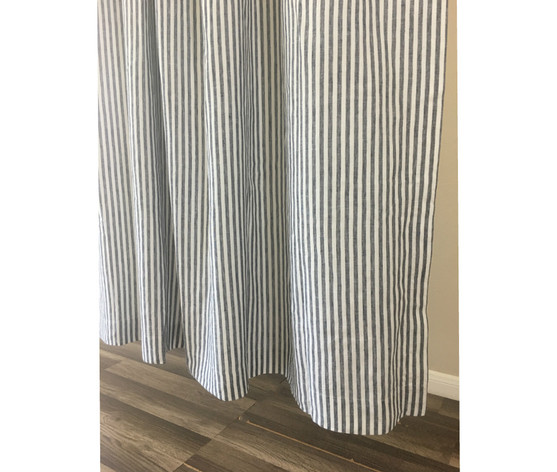 Slate Gray And White Striped Linen Shower Curtain