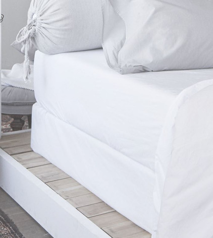 Linen Box Spring Cover Bed Skirt Alternative White