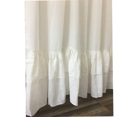 Linen Shower Curtain With Double Layer Of Fuffles