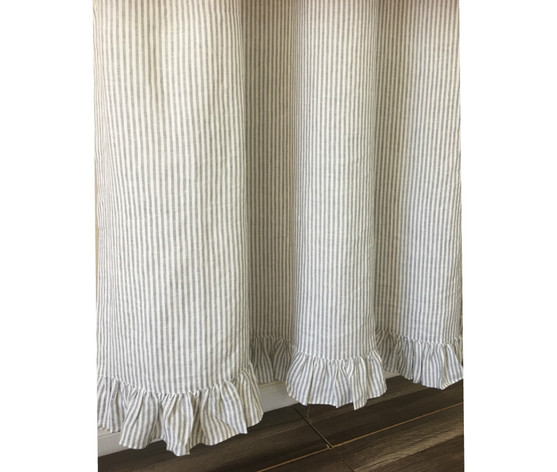 Grey And White Striped Shower Curtain With Ruffle Hem Linen