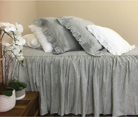 Subtle Black And White Ticking Striped Bedspread Classic Stripe
