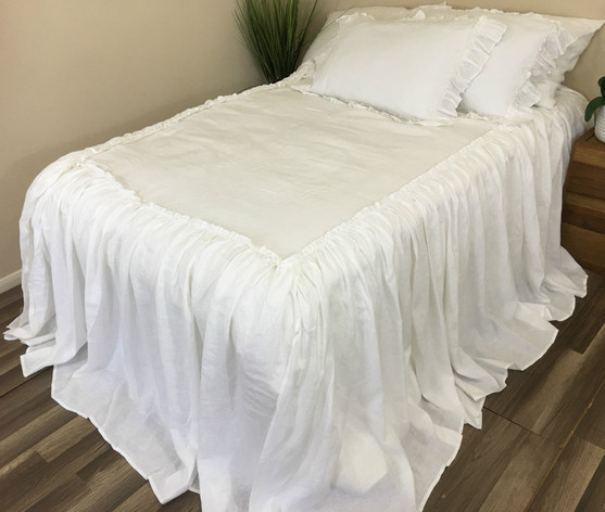Linen Bedspread With Ruffles On Top Fabulous Multiple Color Choices