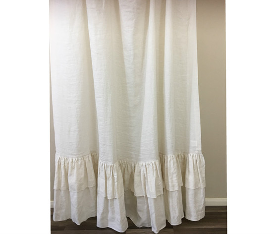 Cream Linen Shower Curtain With 2 Tiered Long Ruffles Fabulous Chic
