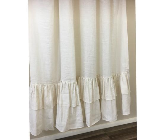 Cream Shower Curtain Ruffle