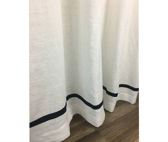 White Shower Curtain With Black Stripe Linen