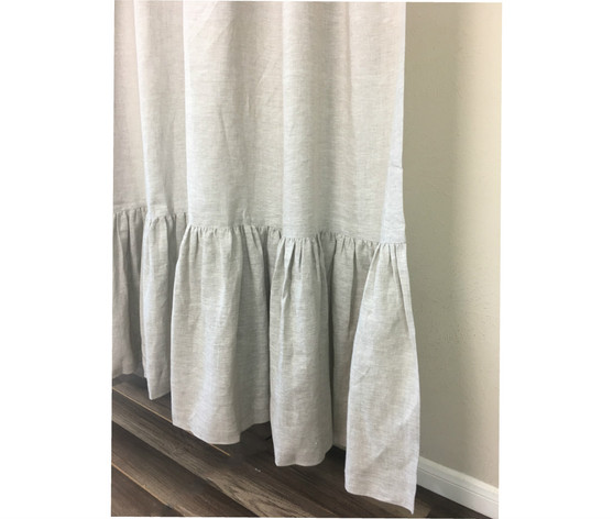 Linen Shower Curtain With Mermaid Long Ruffles
