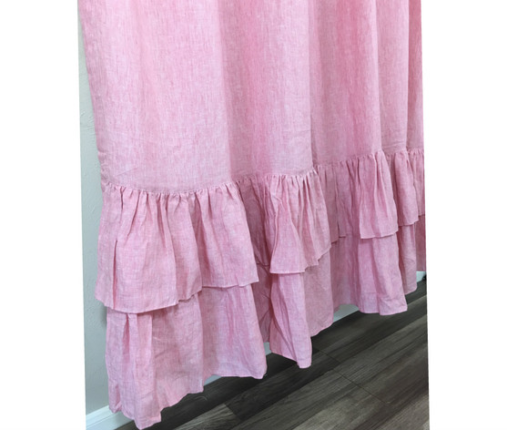 Chambray Rose Shower Curtain With Two Tiered Ruffles