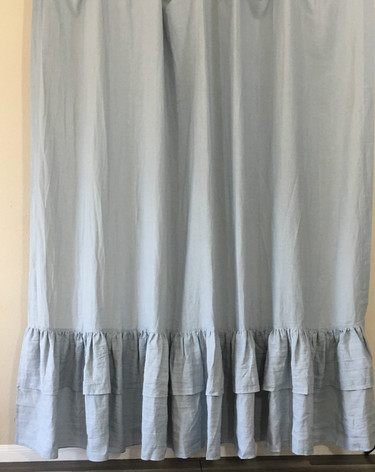 Duck Egg Blue Linen Curtain With 2 Tiered Mermaid Ruffles The Glamour Of