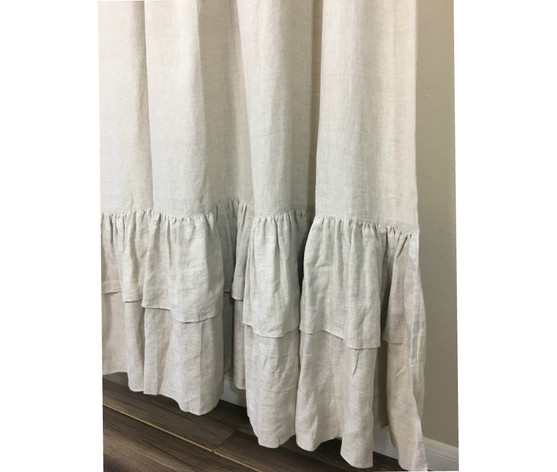 Natural Linen Shower Curtains With Two Tiered Mermaid Long Ruffles Medium Weight