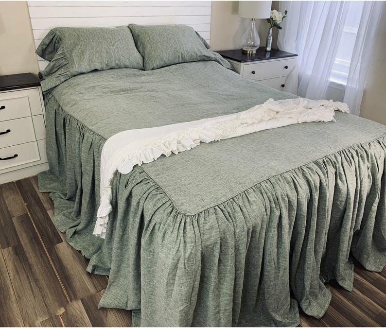 Linen olive green bedspread