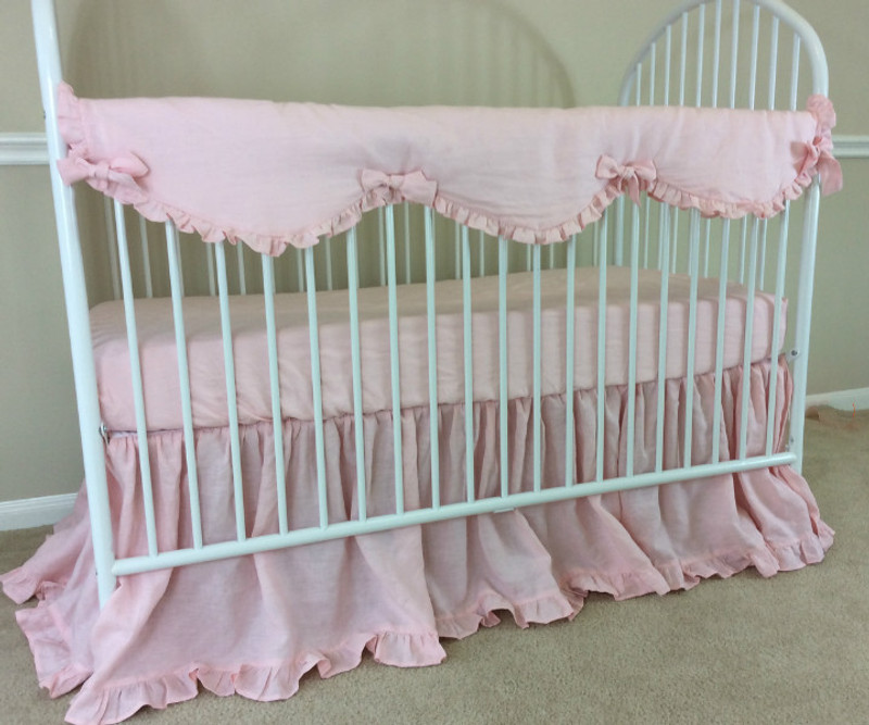 Baby Girl Ruffles Pinwheel Luxury Collection Full Crib Bumper Lavender Crib Bedding Free Personalization