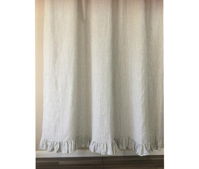 Grey Stripe Linen Shower Curtain Features Ruffle Hem Mildew Free