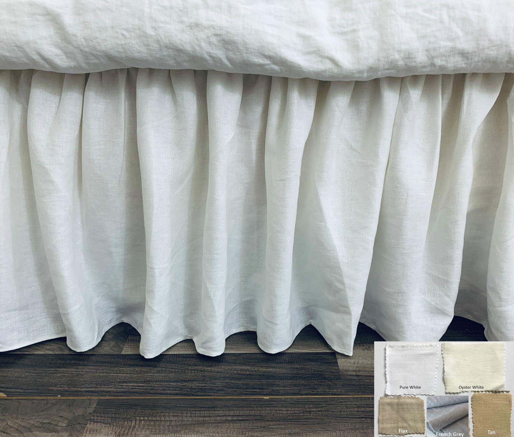 Belgian Linen Bed Skirt With Gathered Ruffles Canvas Weight Linen