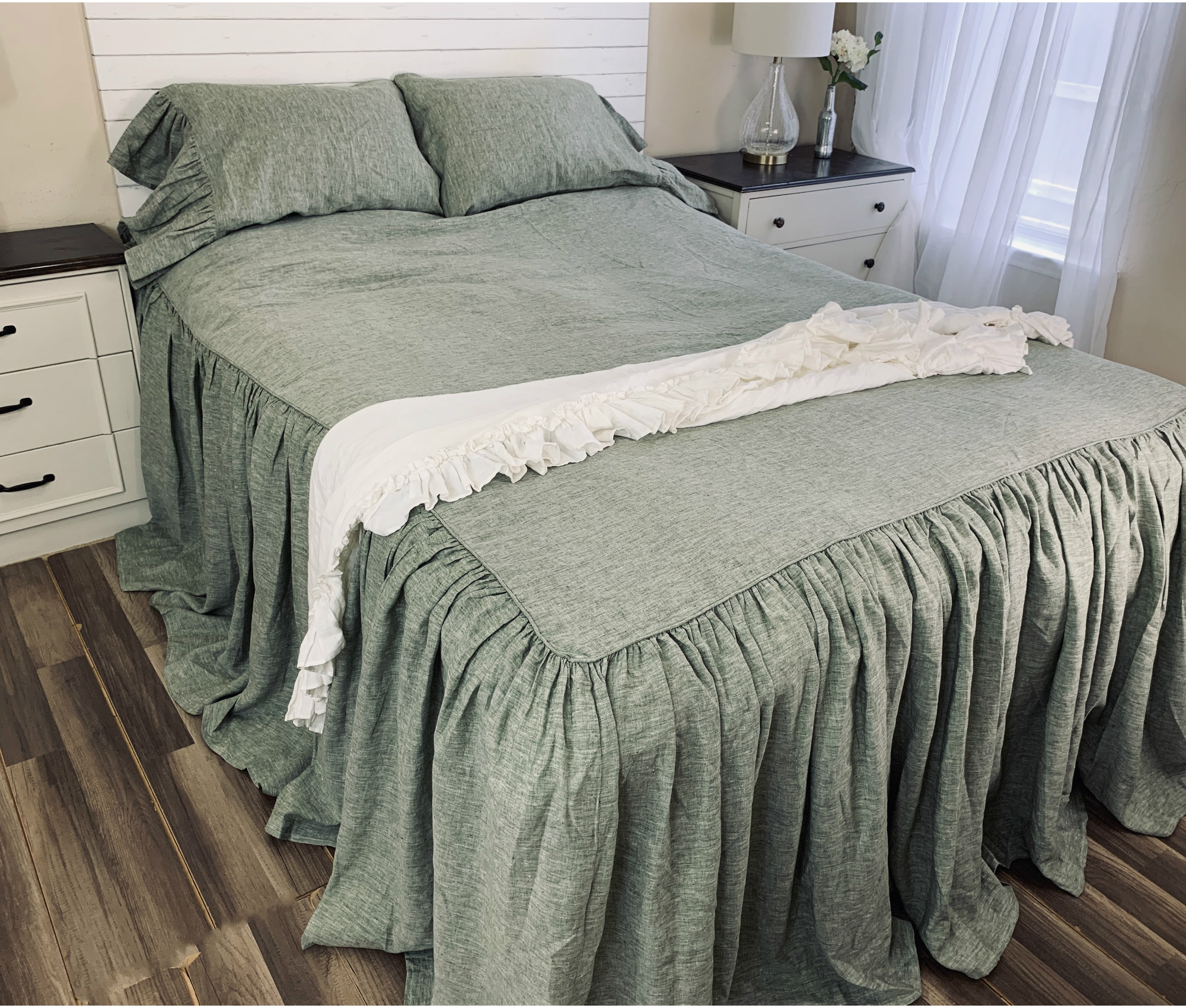 Chambray Olive Green Linen Bedspread Made To Fit All Size Bed