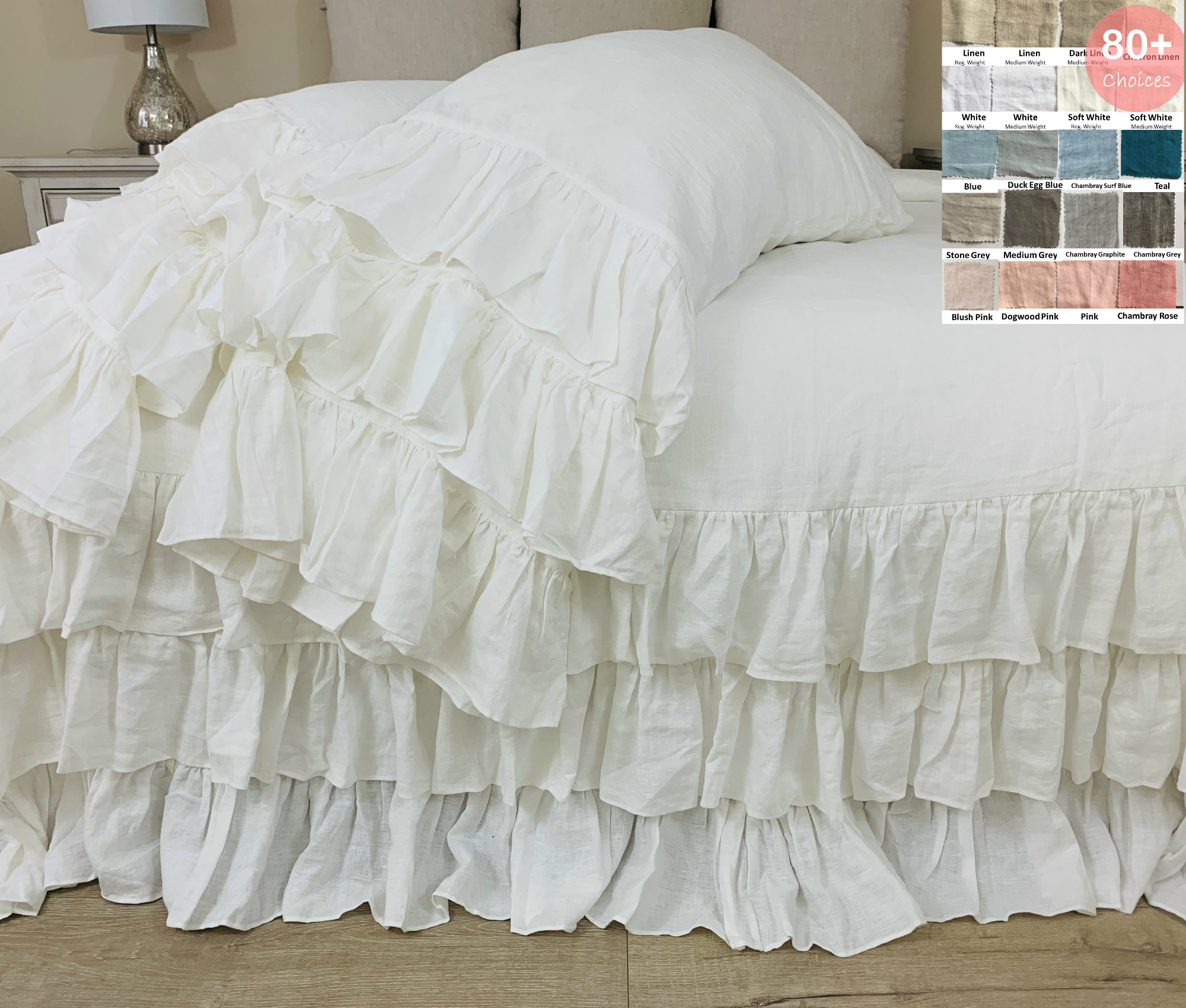 Linen Duvet Cover With Three Tiered Ruffles Multiple Colors