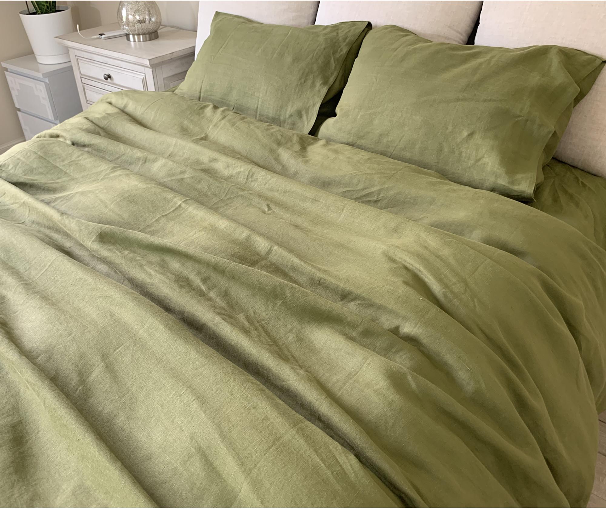 Rosemary Green Linen Duvet Cover