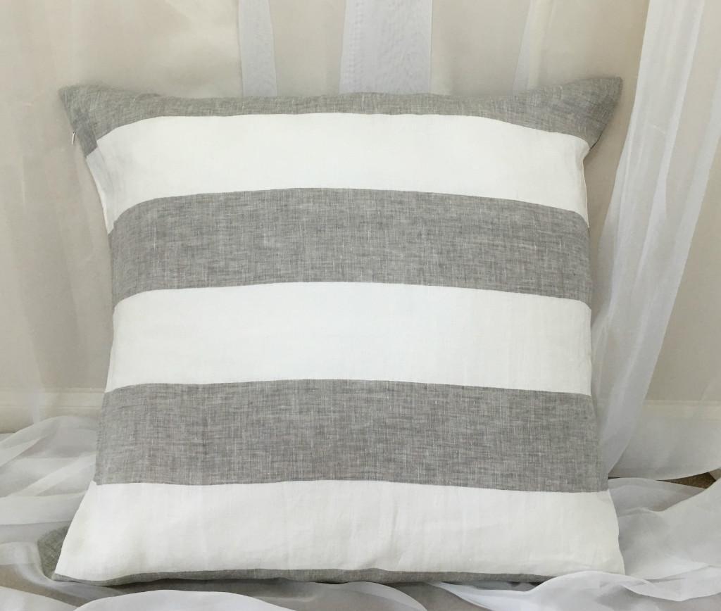 Grey And White Cabana Stripe Euro Sham Covers Handcrafted By Superiorcustomlinens Com