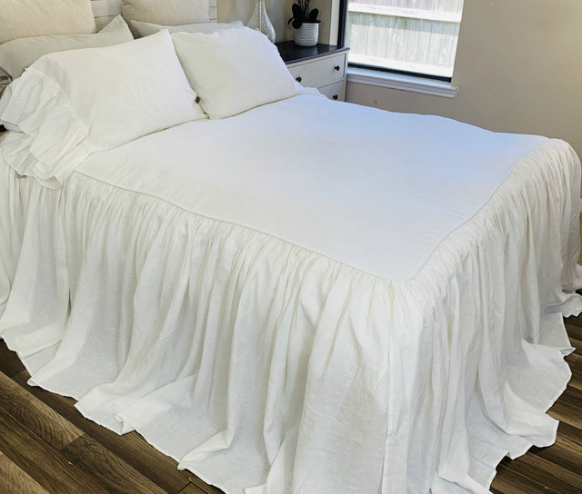 White Linen Bedspread Ruffled Bed Cover