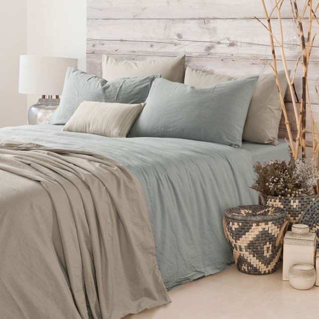 Pine Bedroom Sets Duck Egg Colour Bedroom Top 10 Bedroom Paint Colors Guest Bedroom Decorating Ideas: Duck Egg Blue Duvet Cover, Natural Linen, Greyish Blue