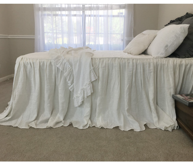 Soft White Bedspread Ruffled Bed Cover Regular Weight Linen