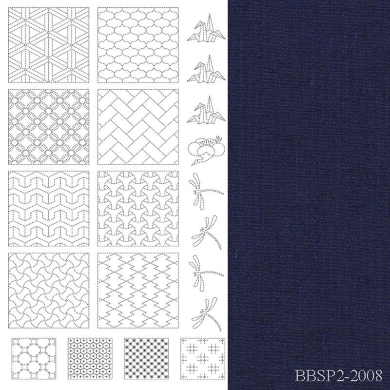 Sashiko Panel from BeBe Bold  2 Navy BBSP2-2008
