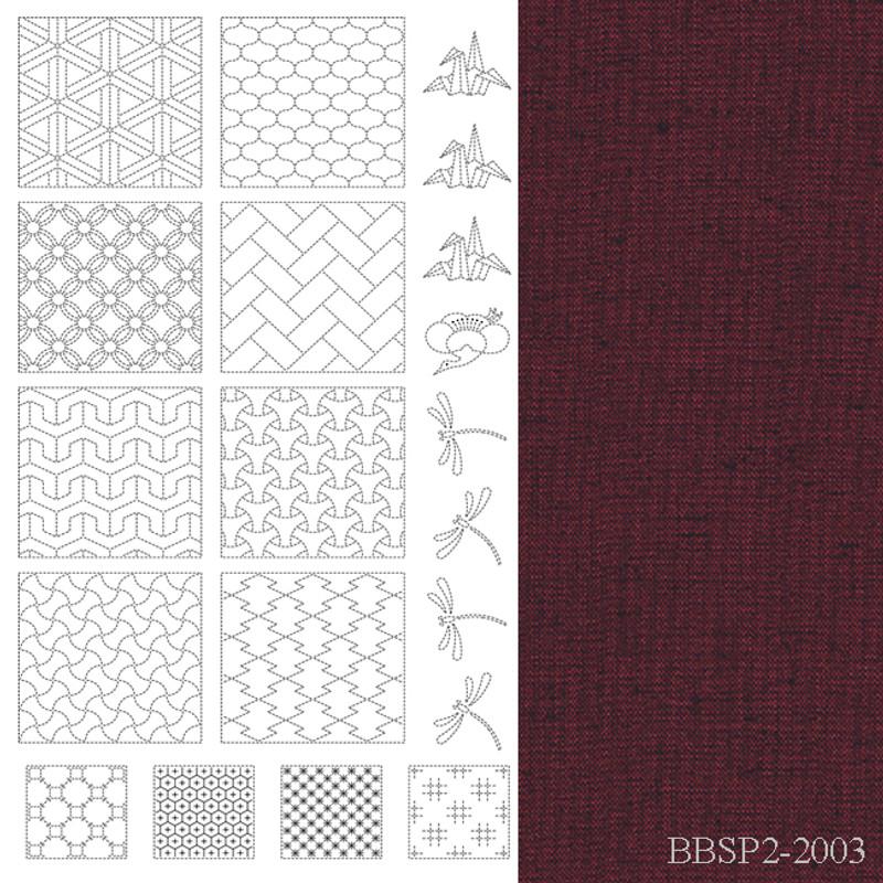 Sashiko Panel from BeBe Bold  2 Red BBSP2-2003