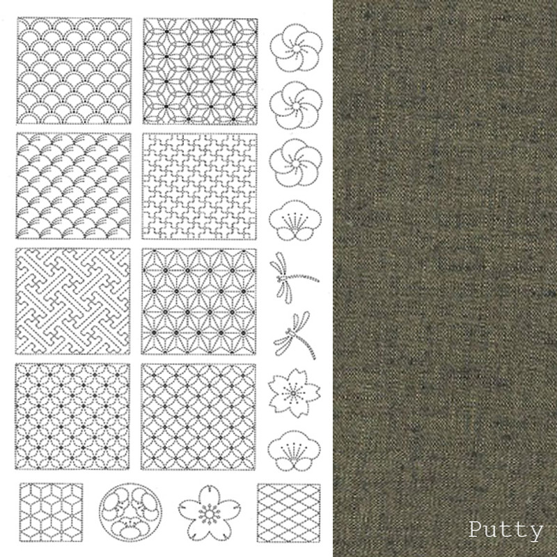 Sashiko Panel from BeBe Bold  1 Putty BBSP1-2501