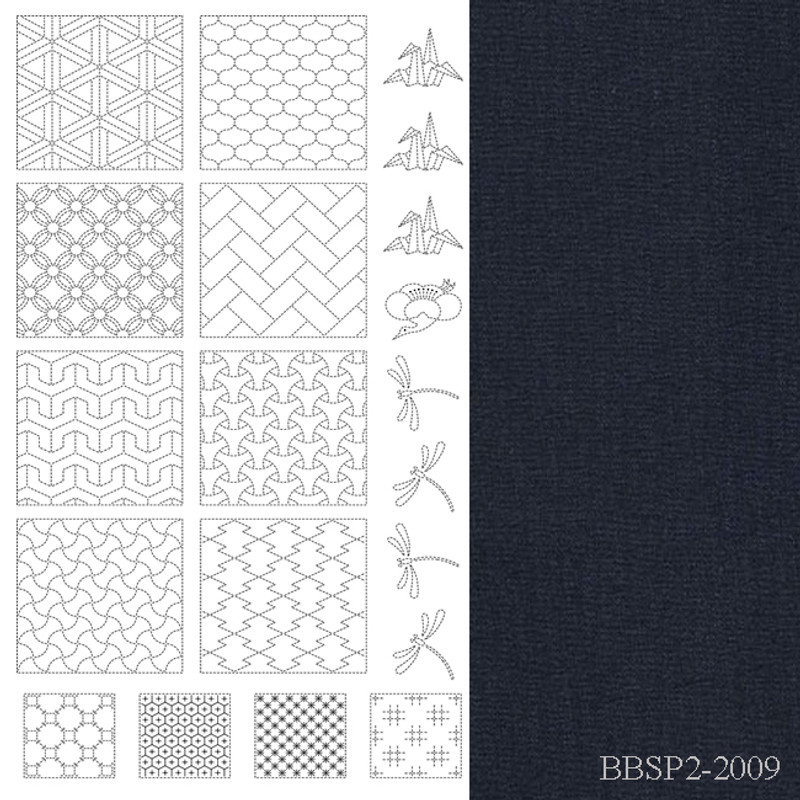 Sashiko Panel from BeBeBold  2 Black BBSP2-2009
