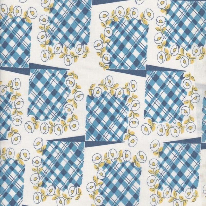Printed Cotton Fabric Blue Tartan Squares F-0328