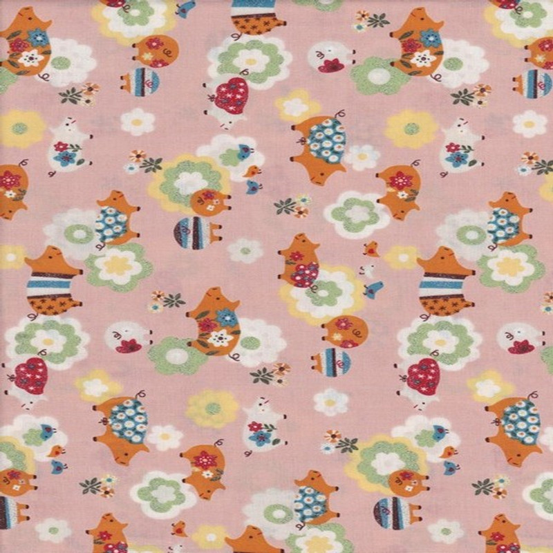 Printed Cotton Fabric Glitter Pigs Pink FCH-0313