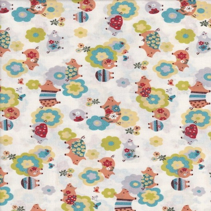 Printed Cotton Fabric Glitter Pigs White FCH-0314