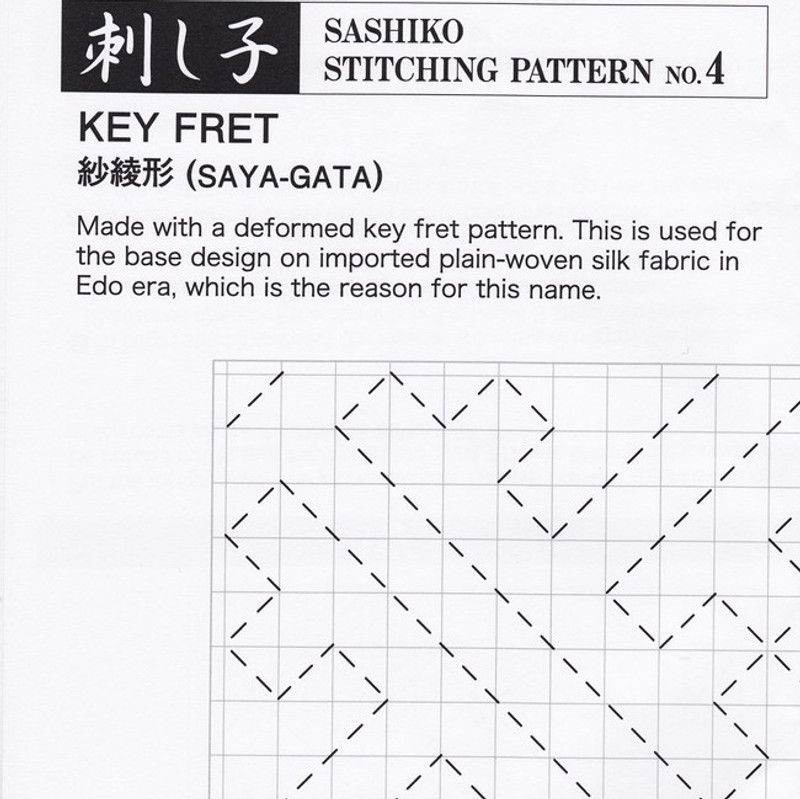 Sashiko Stitching Pattern Key Fret (Saya-Gata) PSS-4