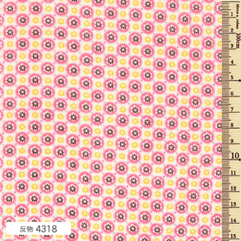 Printed Cotton Fabric Soleil Circle Pink Blossom F-4318