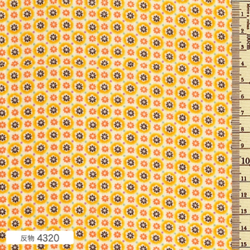 Printed Cotton Fabric Soleil Circle Yellow Blossom F-4320