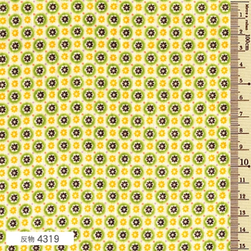 Printed Cotton Fabric Soliel Circle Green Blossom F-4319