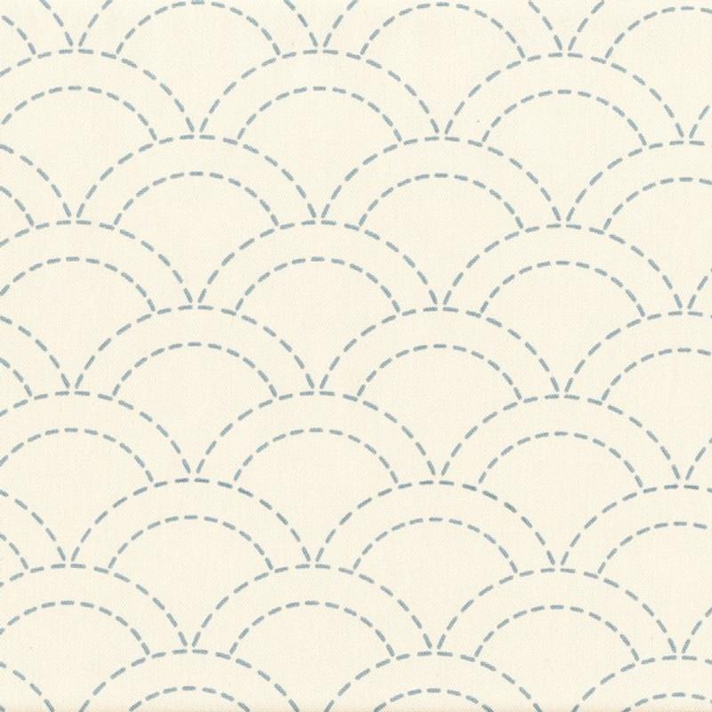Stencilled Sashiko Fabric Overlapping Waves Ecru