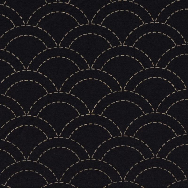 Stencilled Sashiko Fabric Overlapping Waves Black