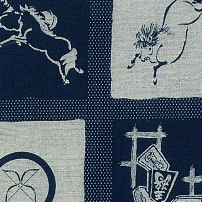 Takumi Printed Cotton Fabric Indigo Panel - Year of the Horse 13N-5B
