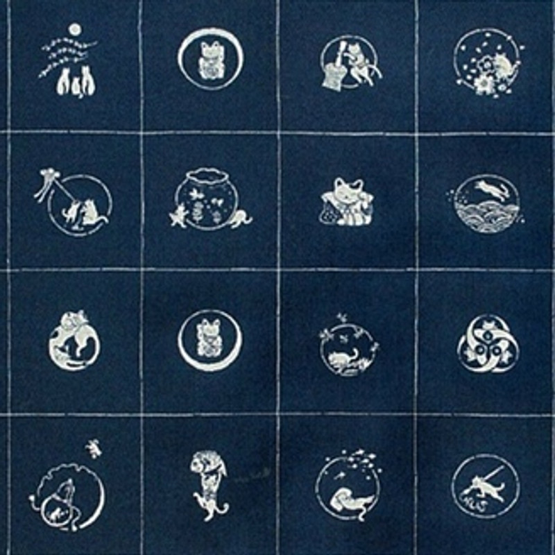 Takumi Printed Cotton Fabric Indigo Panel-Cats 13N-1B