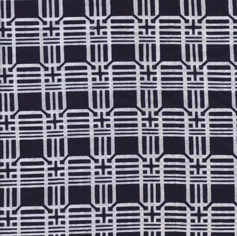 Yukata Printed Cotton Fabric Kimono Width Blue & White TYBW-0575